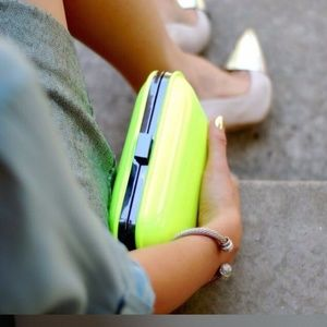 Zara Neon Yellow/ Green Clutch Bag